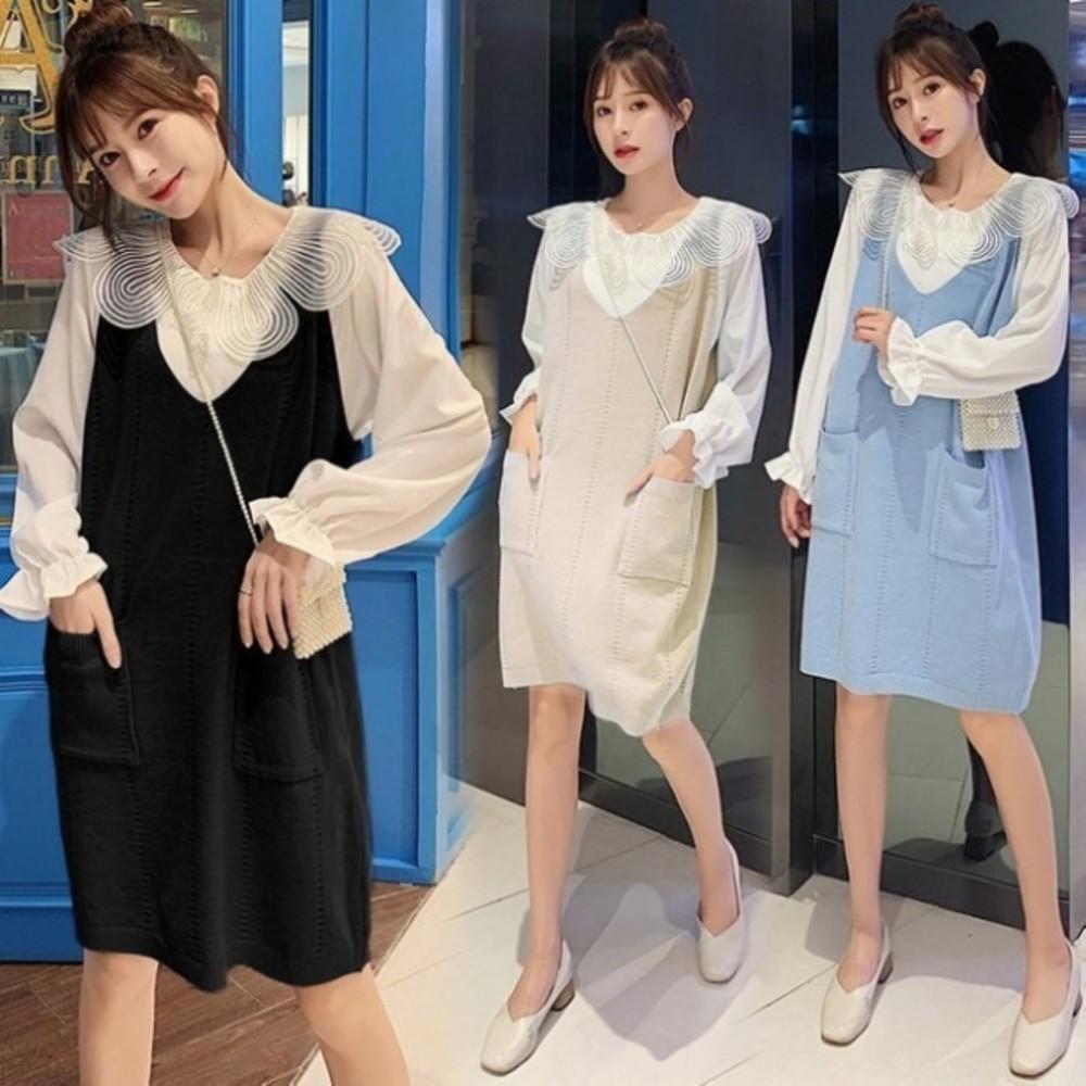 DS5615 - 兩件式 洋裝【DS5615】韓系 超質感 背心裙 花瓣領 襯衫 長袖 洋裝 孕婦裝 針織裙