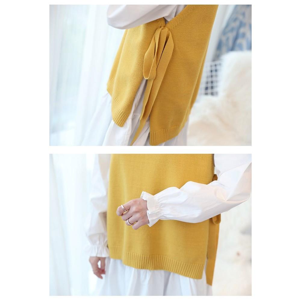 韓系 實拍 兩件式 背心 洋裝【DS6155】二件式 襯衫洋裝 蝴蝶結 毛衣 馬甲 長袖 連身裙