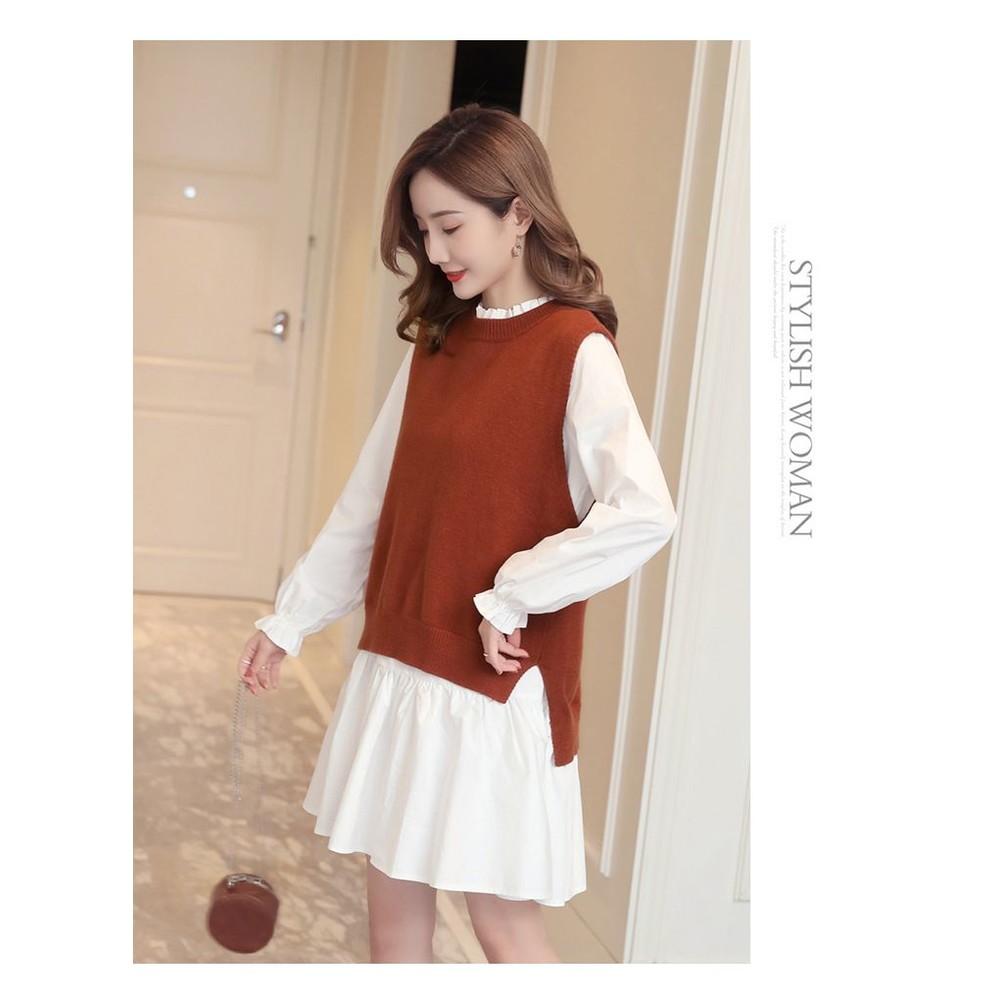韓系 實拍 兩件式 背心 洋裝【DS6156】背後 繫帶 二件式 長袖 襯衫洋裝  毛衣 馬甲