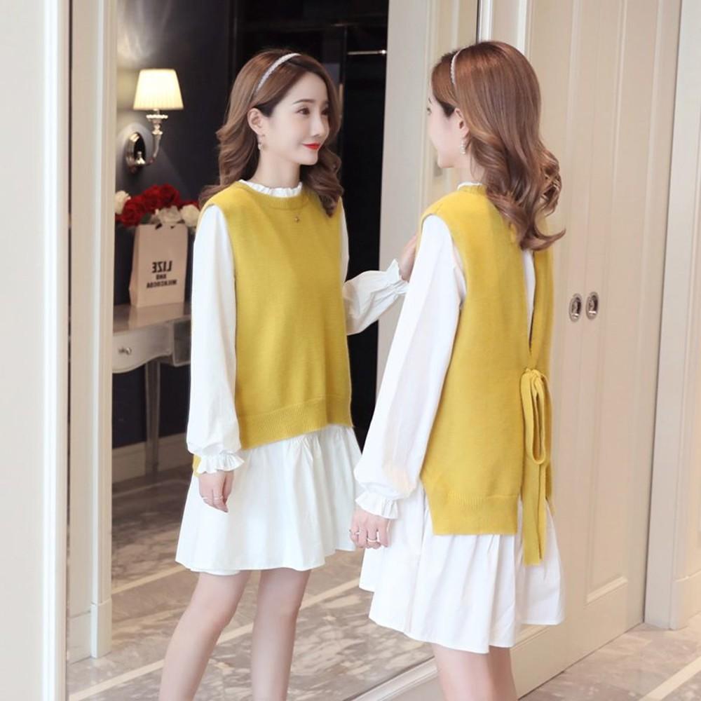 DS6156-韓系 實拍 兩件式 背心 洋裝【DS6156】背後 繫帶 二件式 長袖 襯衫洋裝  毛衣 馬甲