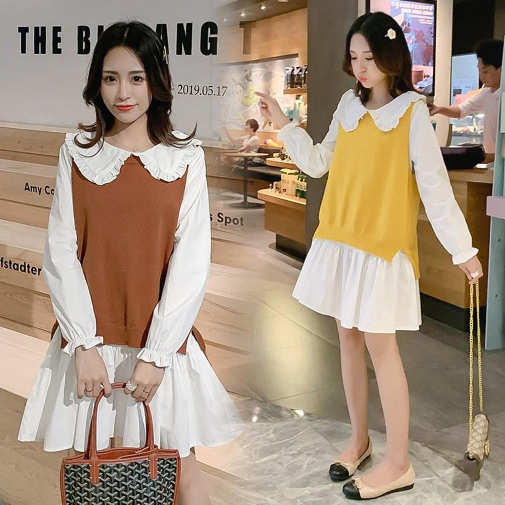 DS6188-韓系 實拍 兩件式 背心 洋裝【DS6188】二件式 襯衫洋裝 毛衣 馬甲 娃娃領 長袖 連身裙