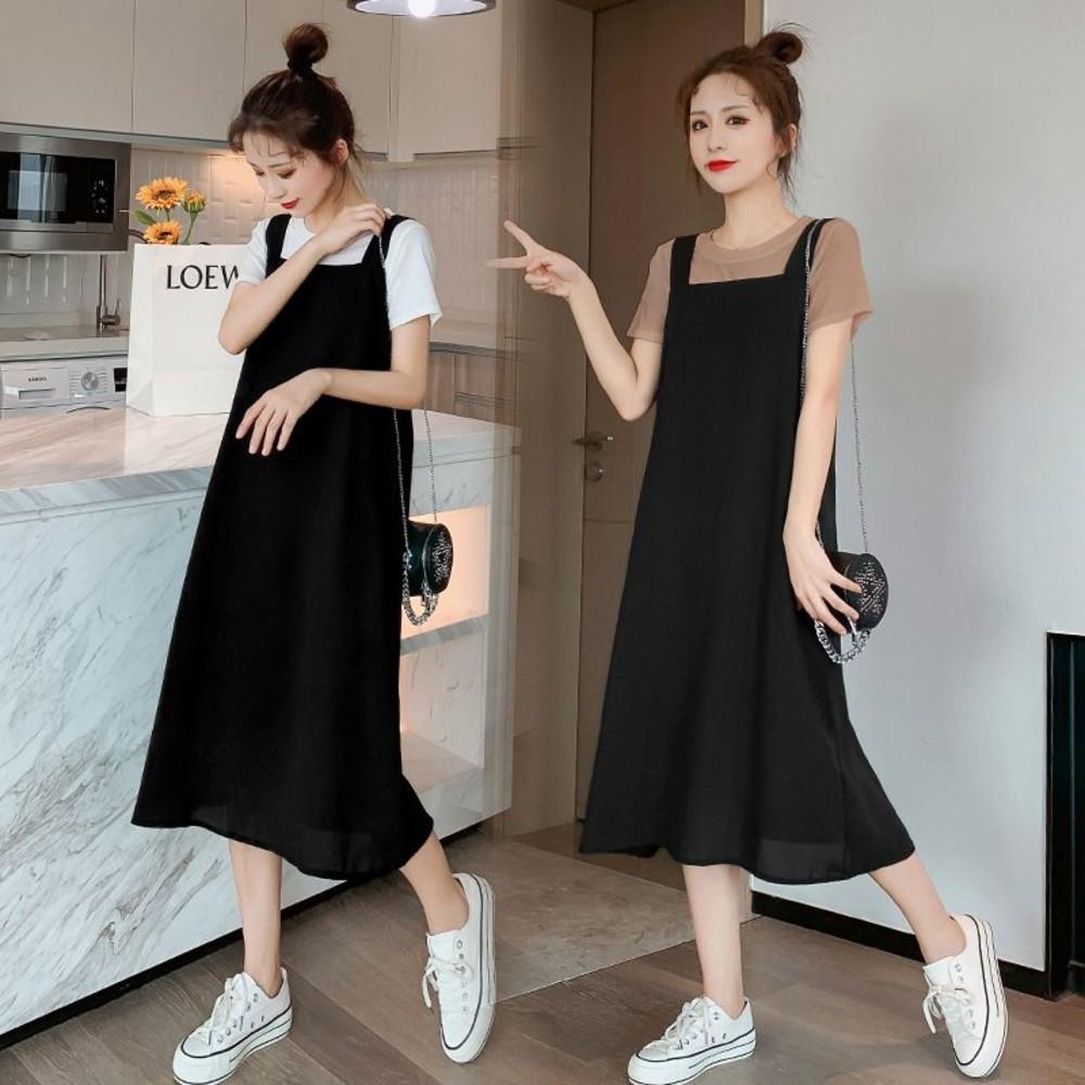 DS7320-韓系 實拍 兩件式 長裙 【DS7320】 短袖 背心長裙 背心裙 吊帶裙 吊帶長裙
