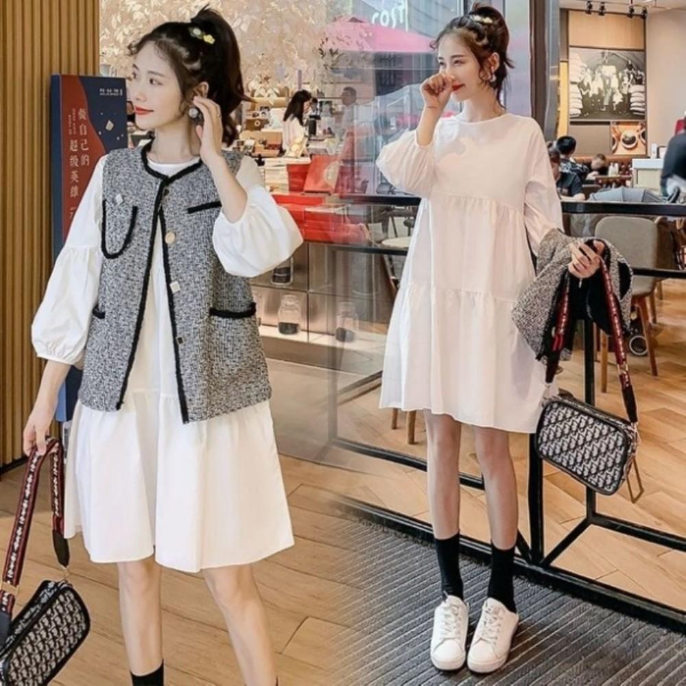 二件式 背心洋裝 【DS8135】 M-XXL 名媛 小香風格 兩件式 針織 背心 洋裝 韓 馬甲 套裝