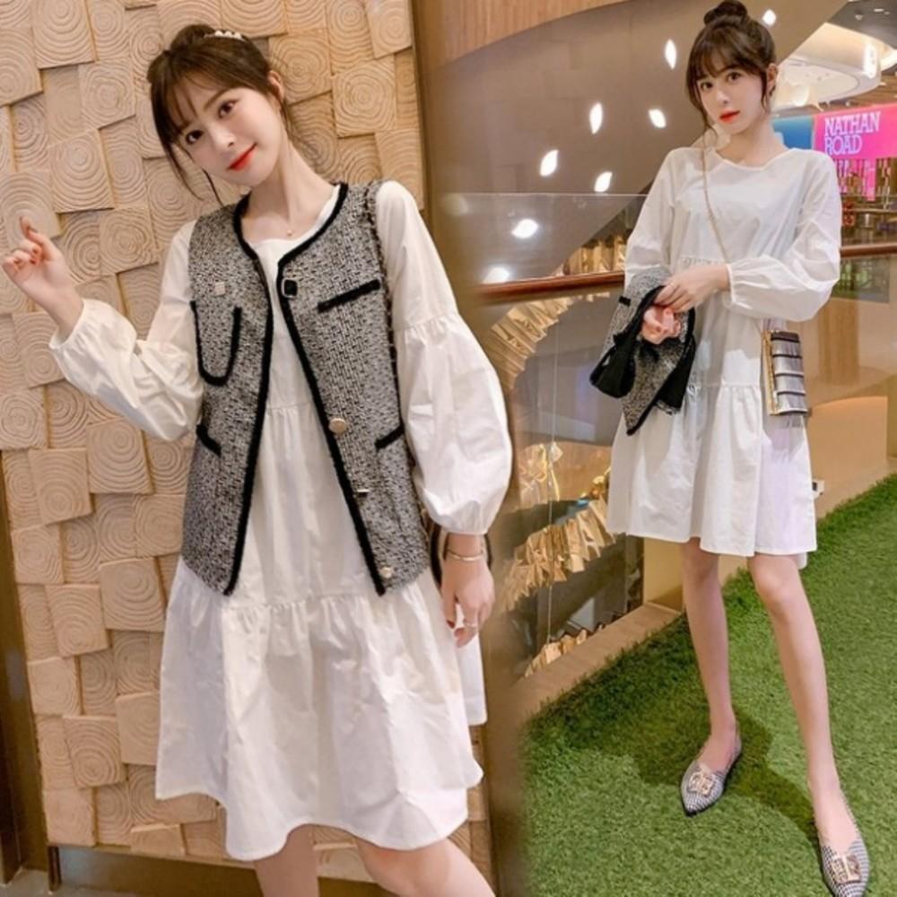二件式 背心洋裝 【DS8135】 M-XXL 名媛 小香風格 兩件式 針織 背心 洋裝 韓 馬甲 套裝 封面照片
