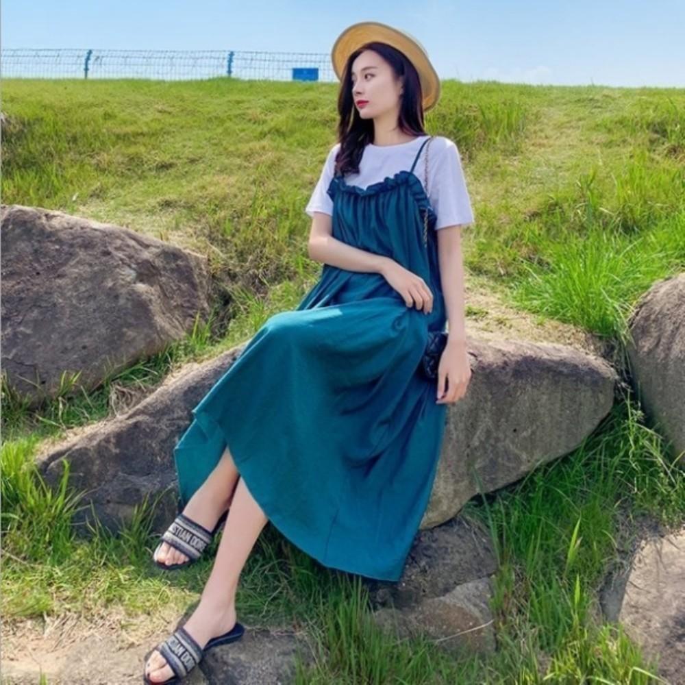 韓系飄逸長裙 【DS8215】 兩件式 短袖 孕婦洋裝 長洋裝 孕婦裝 背心長裙
