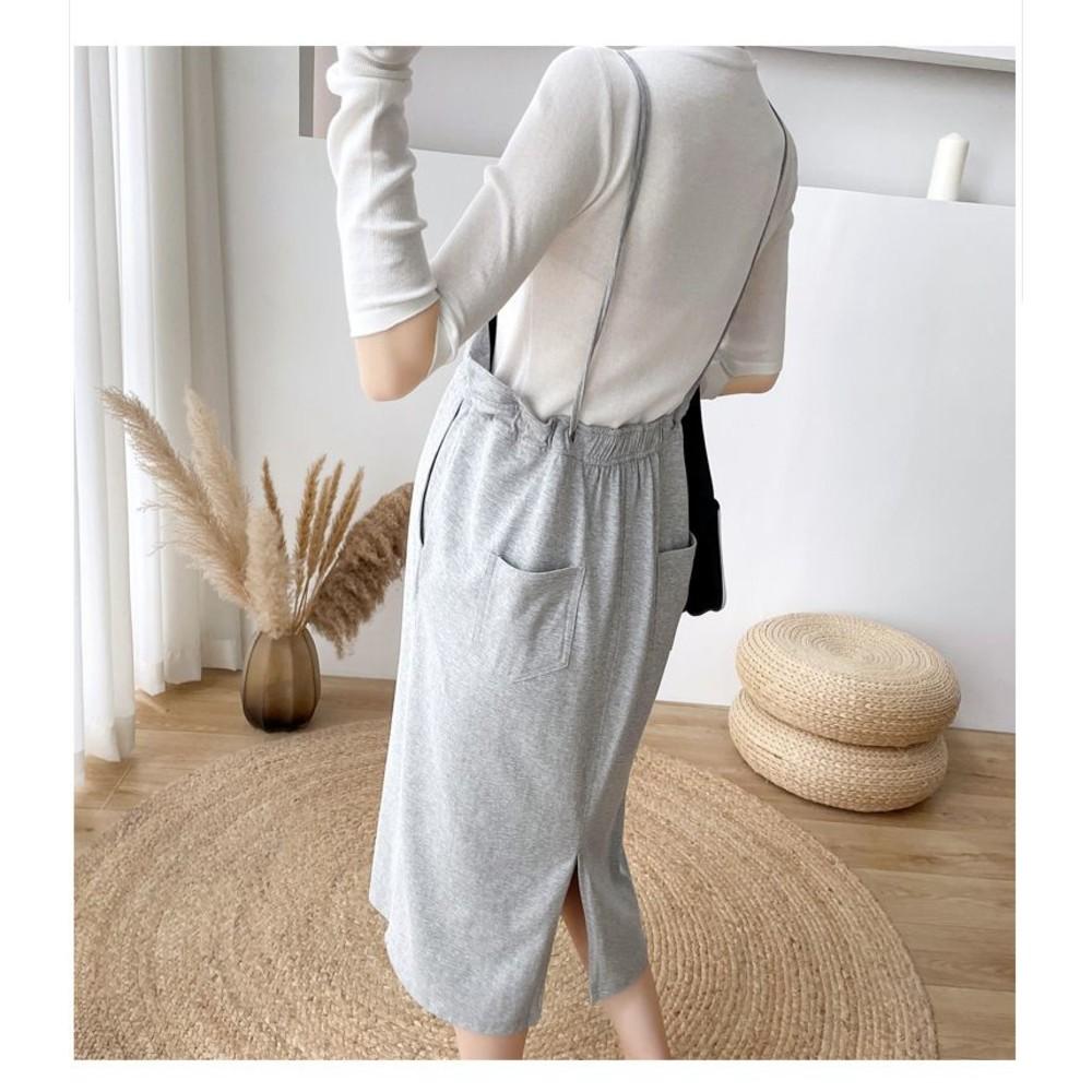 實拍 韓系 兩件式 細肩 吊帶裙【DS8225】抽繩 長袖 造型T 背帶裙 吊帶長裙