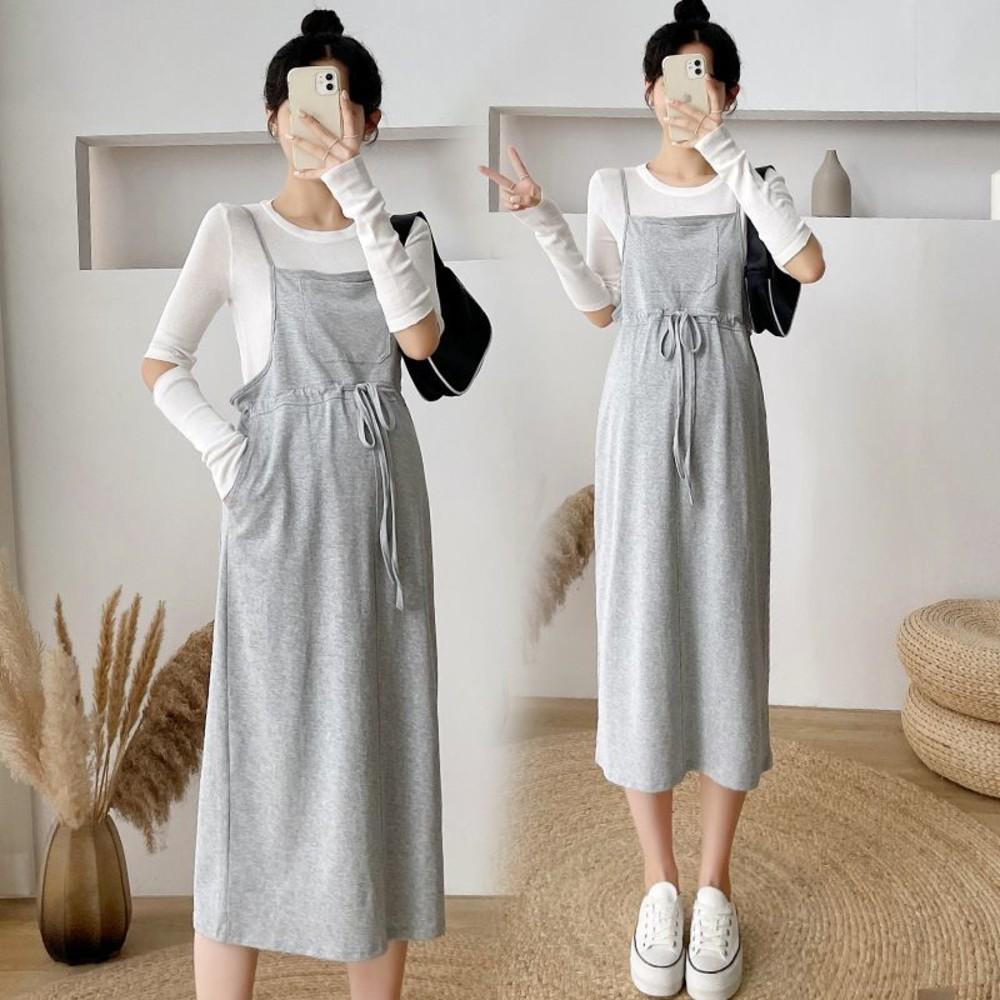 DS8225-實拍 韓系 兩件式 細肩 吊帶裙【DS8225】抽繩 長袖 造型T 背帶裙 吊帶長裙
