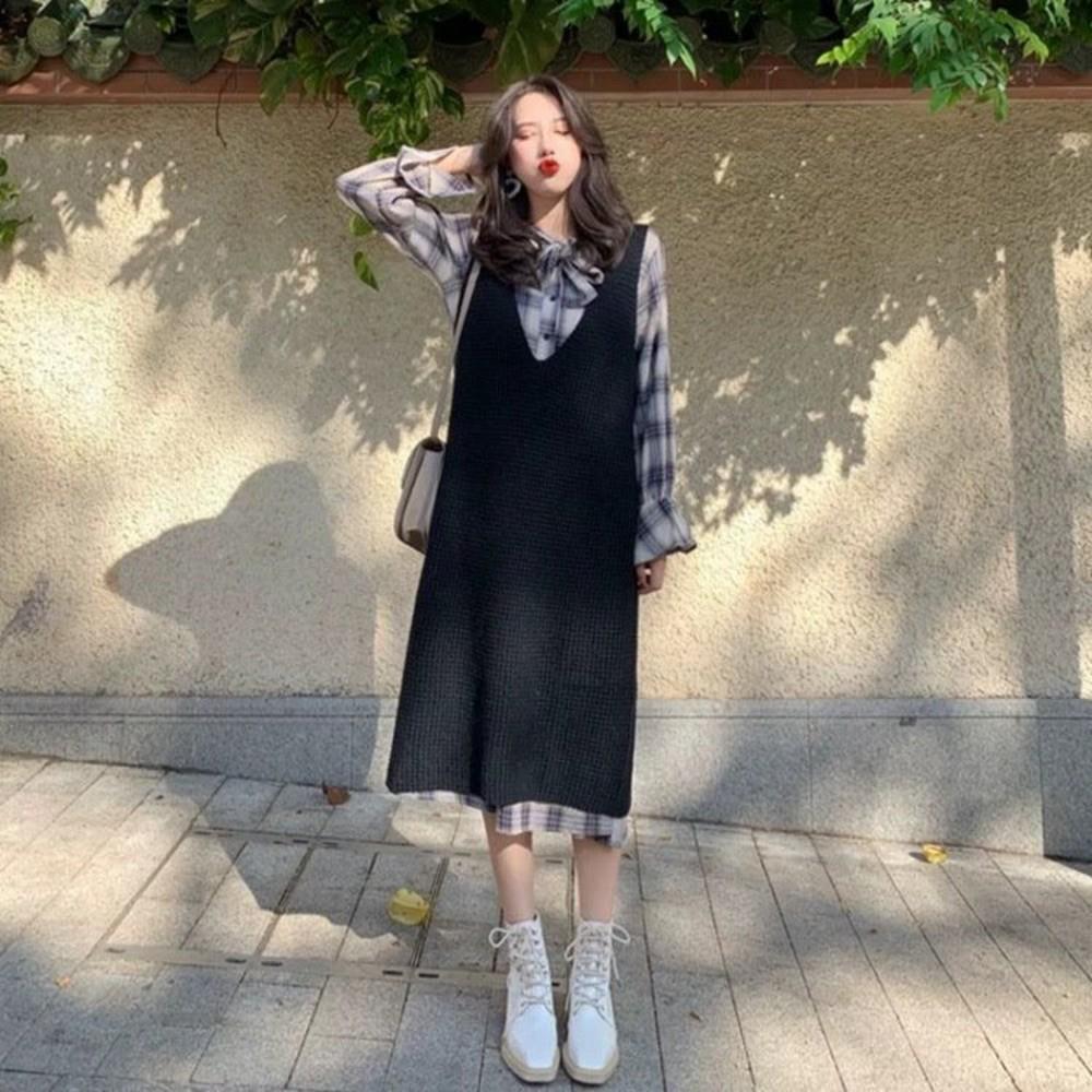 DS8302-實拍 韓系 兩件式 針織 背心裙【DS8302】二件式 格紋 長袖 格子 喇叭袖 襯衫洋裝 背心洋裝