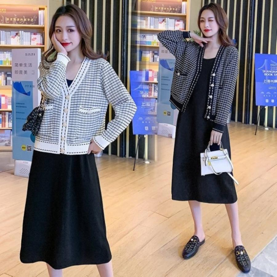 DS8683-兩件式 針織毛衣外套長裙連衣裙【DS8683】小香風 二件式 網紅 針織外套 長洋裝