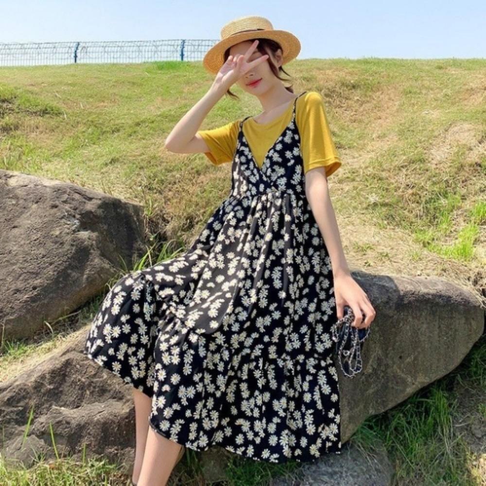 雛菊 細肩帶 V領 碎花 洋裝 【DS9238】 兩件式 雪紡洋裝 碎花裙 吊帶洋裝 荷葉 魚尾裙