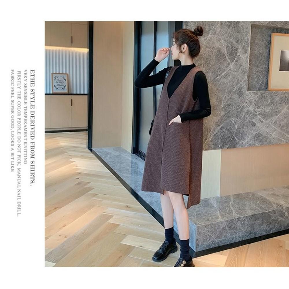 韓系 坑條 背心裙 洋裝 【DS9261】毛衣裙 孕婦裝 背心連身裙 針織洋裝