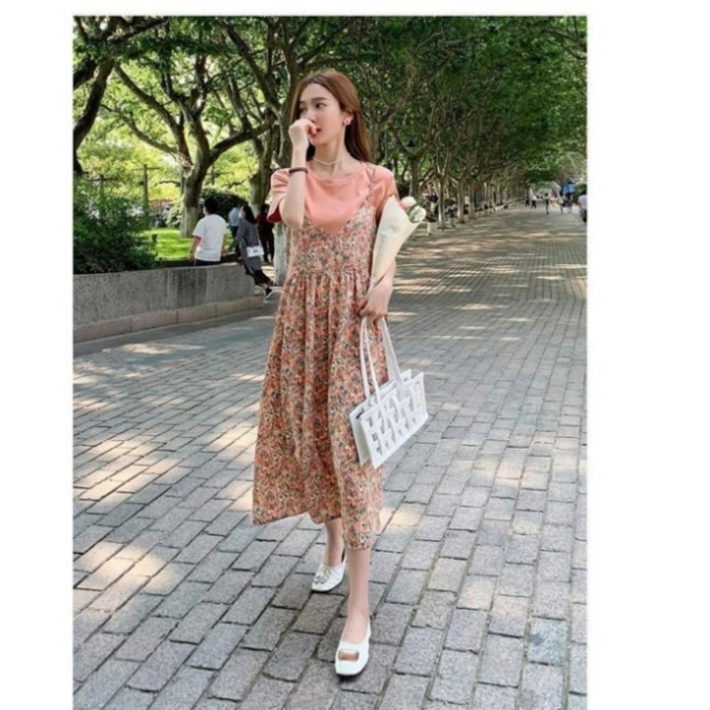 碎花洋裝 【DS9356】 兩件式 吊帶裙 長裙 雪紡 長洋裝 孕婦裝 洋裝 連身裙
