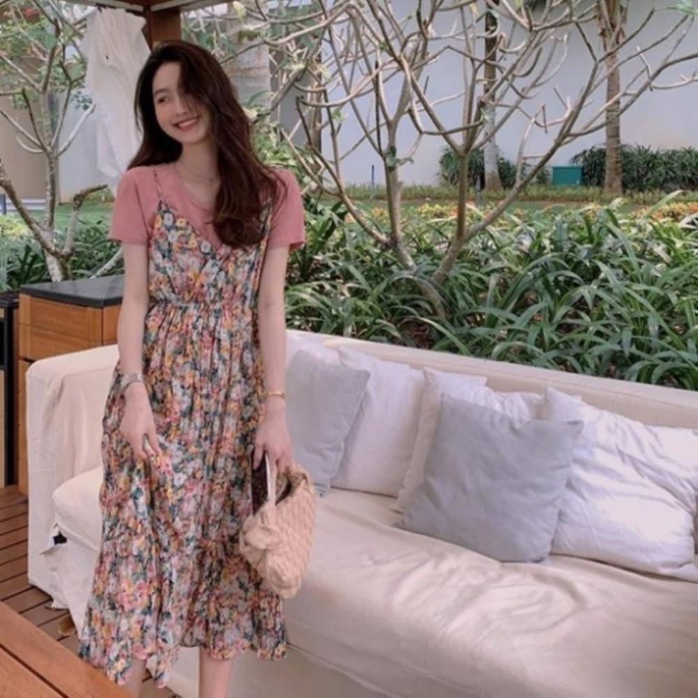 碎花小洋裝 【DS9357】 兩件式 吊帶裙 長裙 雪紡 長洋裝 孕婦裝 洋裝 連身裙