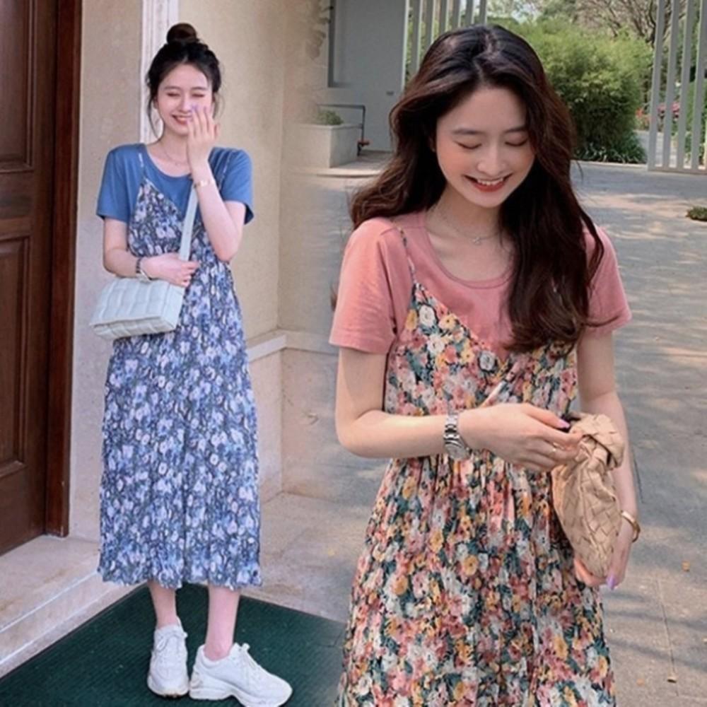 碎花小洋裝 【DS9357】 兩件式 吊帶裙 長裙 雪紡 長洋裝 孕婦裝 洋裝 連身裙 封面照片