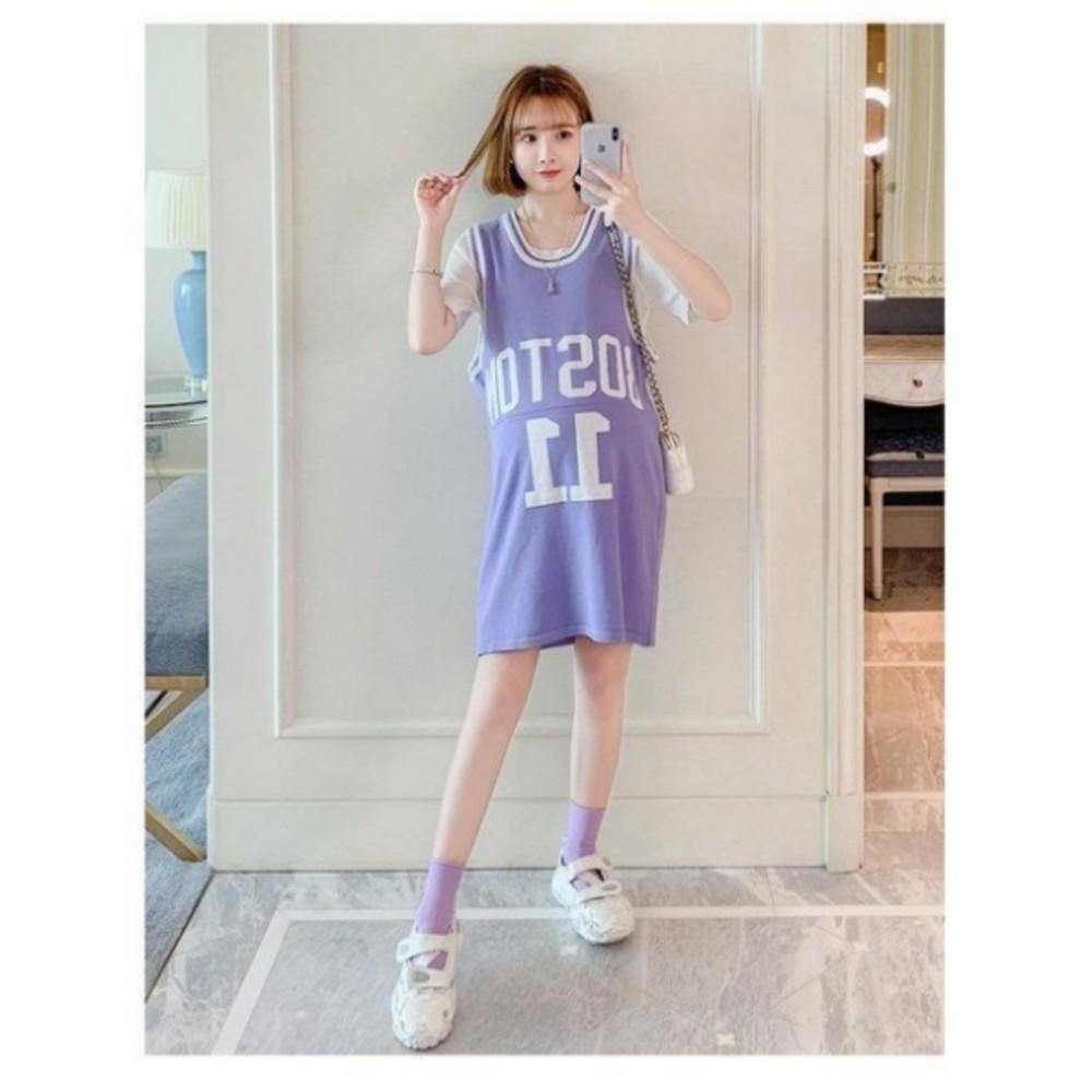 美式休閒運動風 兩件式洋裝 【DS9663】字母 背心裙 套裝 孕婦裝