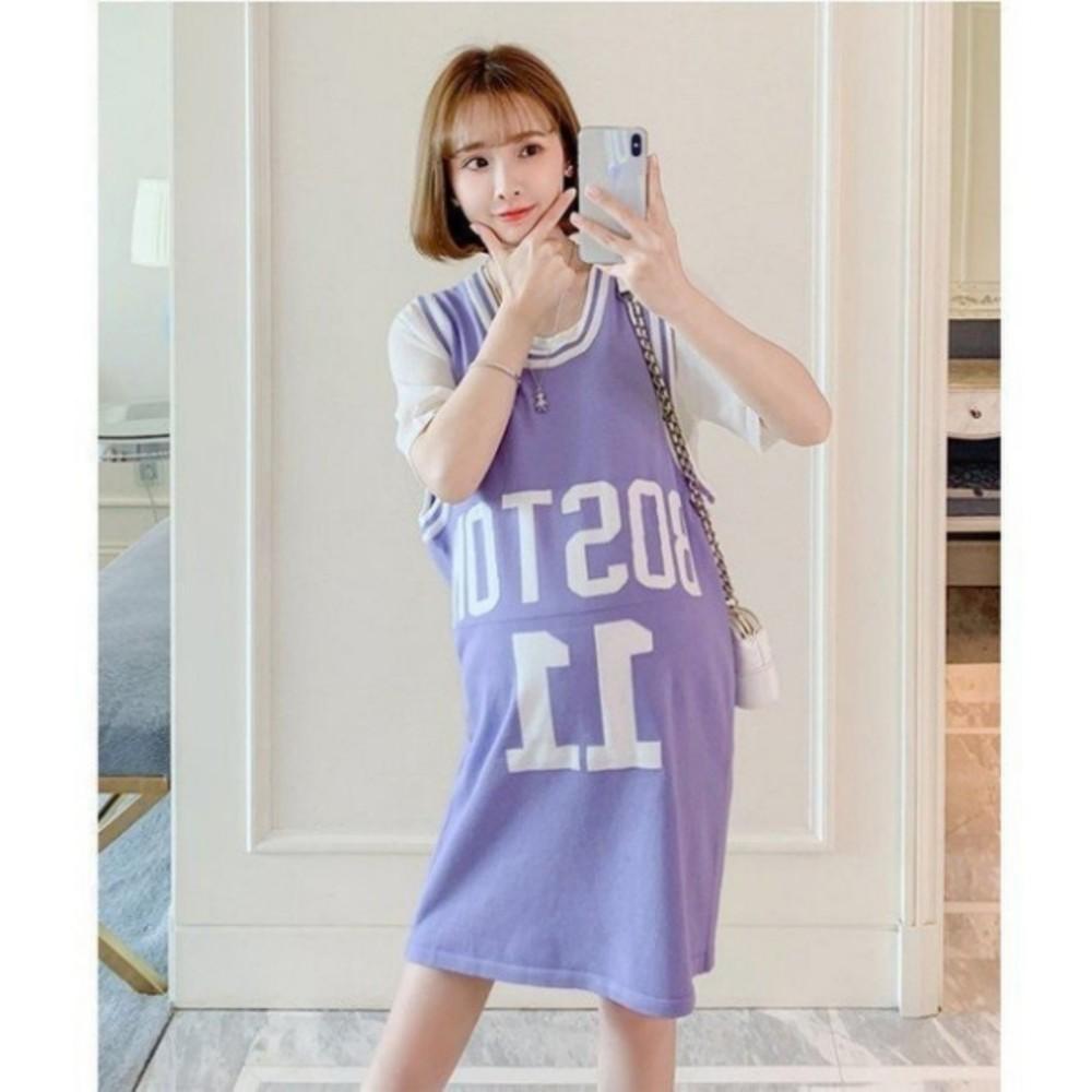 DS9663-美式休閒運動風 兩件式洋裝 【DS9663】字母 背心裙 套裝 孕婦裝