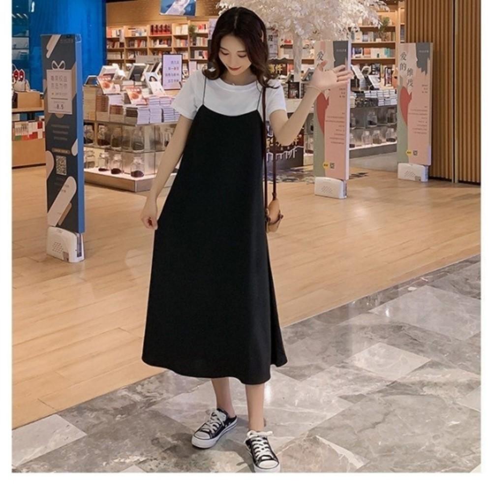 兩件式 長裙 【DS9821】 短袖 背心長裙 長洋裝 背心裙 一般款 及 孕婦裝