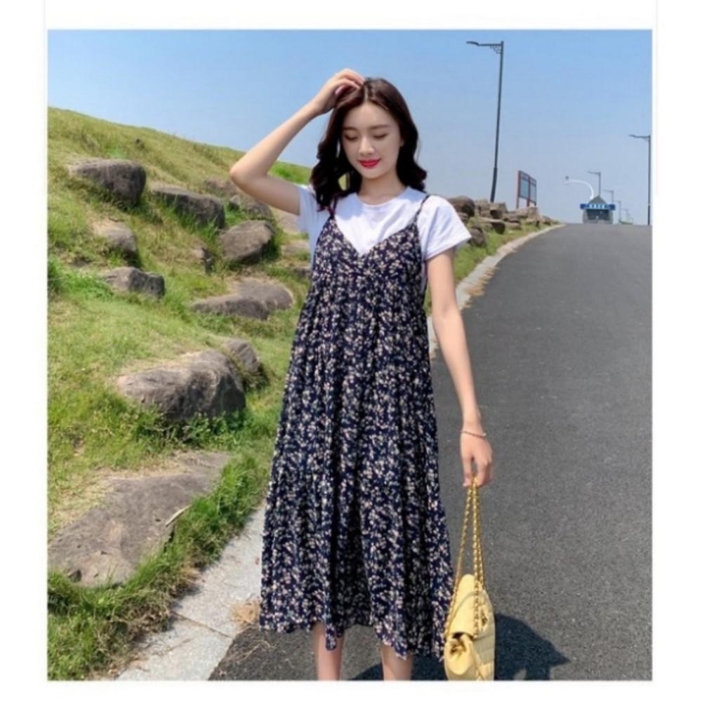 碎花 兩件式 長裙 【DS9846】 短袖 背心長裙 細肩 碎花小洋裝 長洋裝 背心裙 一般款