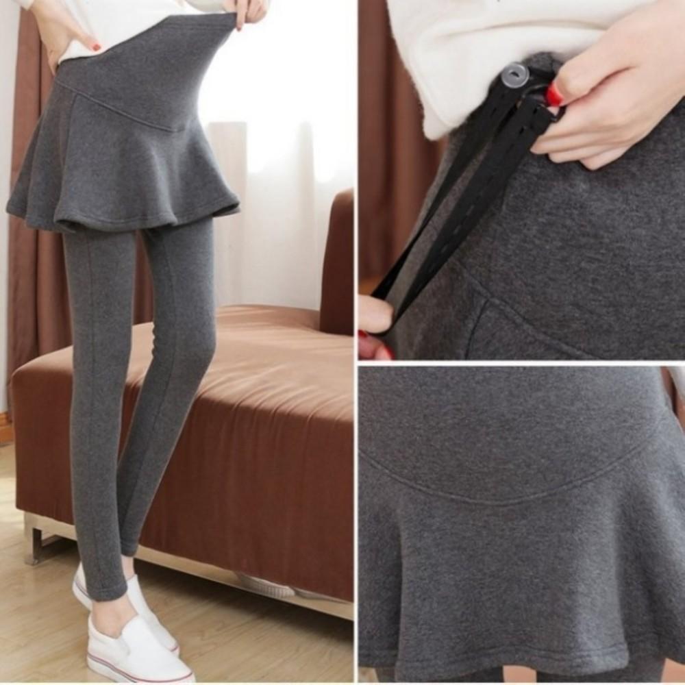 L00127WM-假二件 托腹褲裙 【L00127WM】 假兩件 短裙 素色 托腹 褲頭 腰圍可調