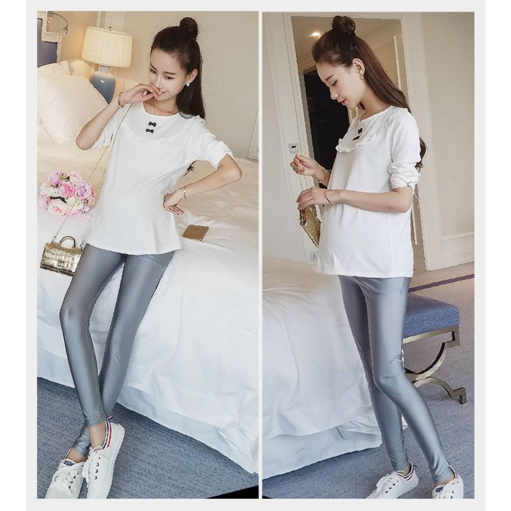 托腹內搭褲 【L1693UK】 孕婦光澤打底褲 長褲 孕婦貼腿褲 小腳褲 內搭褲 鉛筆褲 孕婦
