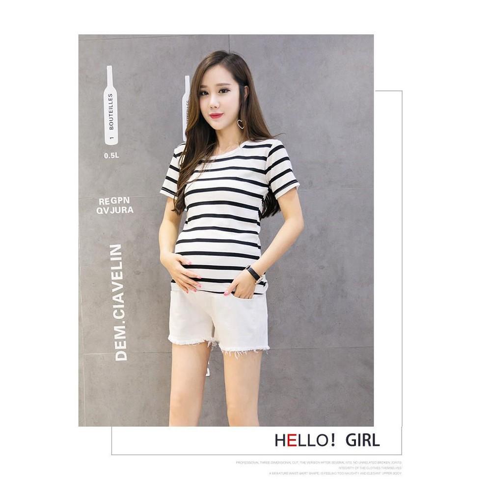 水洗牛仔短褲 【L1710XD】 仿牛仔 柔軟 純色 貓鬚 磨破 孕婦托腹褲 刷破 孕婦短褲 孕