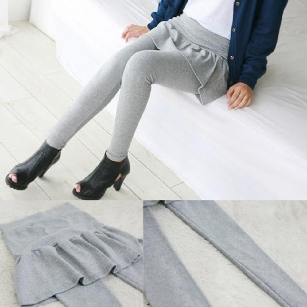 L1716XD-加厚磨毛假兩件托腹裙褲 【L1716XD】 孕婦托腹長褲 孕婦褲 孕婦裙褲 俏麗