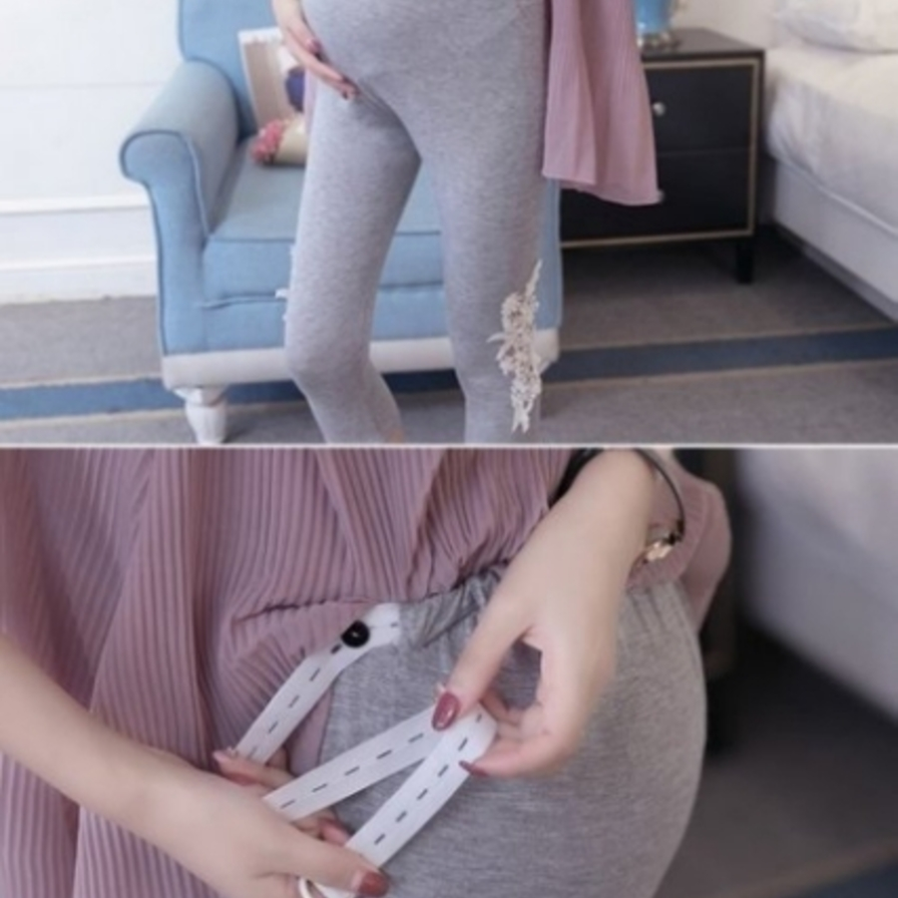 蕾絲托腹內搭褲 【L7287E】 雕花 莫代爾 超柔軟 彈性 托腹內搭褲 孕婦褲 七分褲 孕婦
