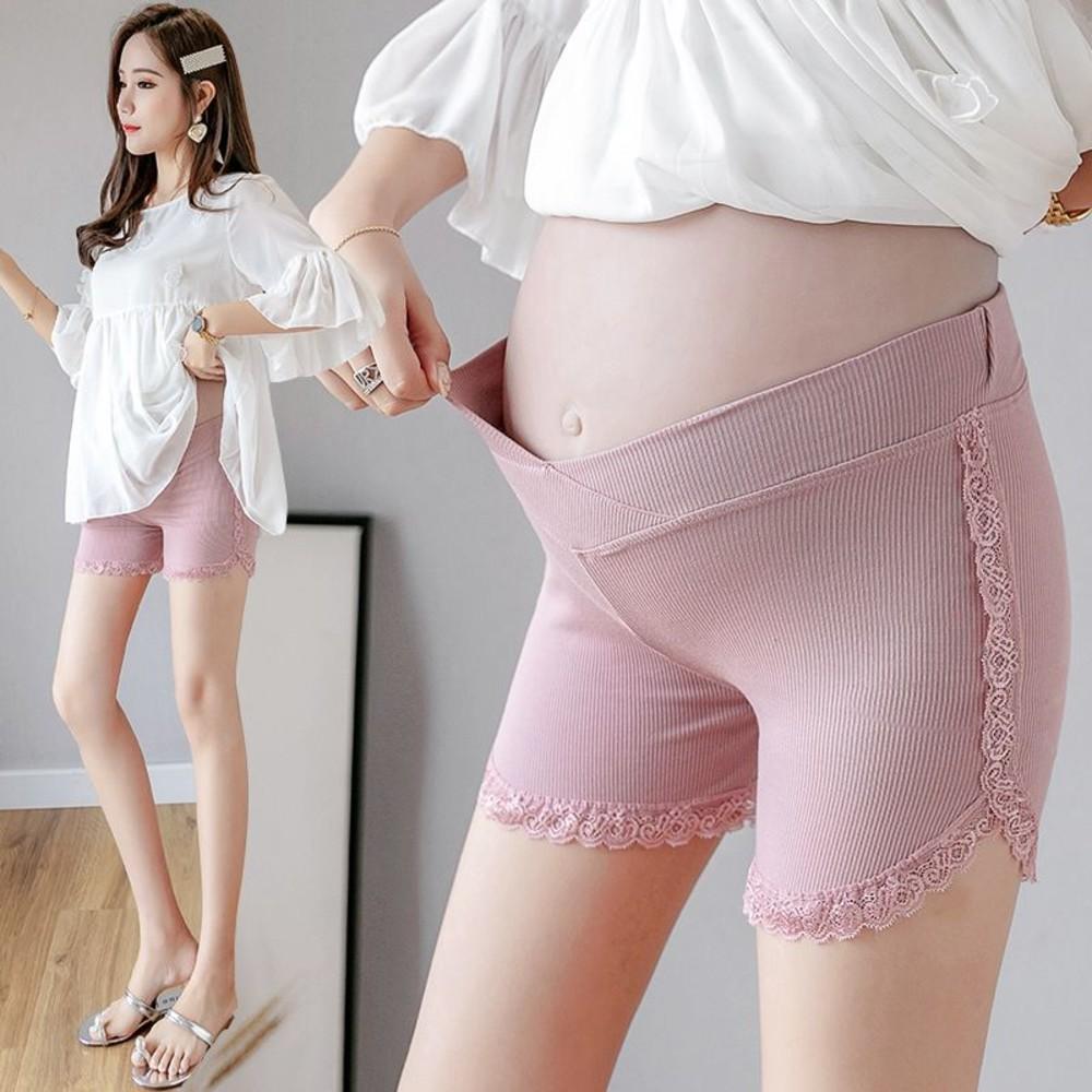 孕婦 低腰 安全褲 【L8316】 低腰 蕾絲 坑條 超彈力 孕婦安全褲 孕婦打底褲 防走光