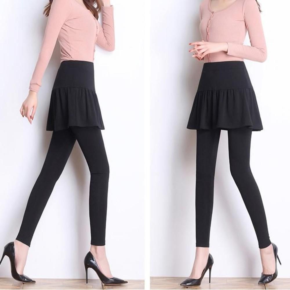 假兩件托腹褲裙 【L851SLP】 不倒絨 褲裙 加絨 孕婦裝 保暖 孕婦褲 孕婦托腹褲