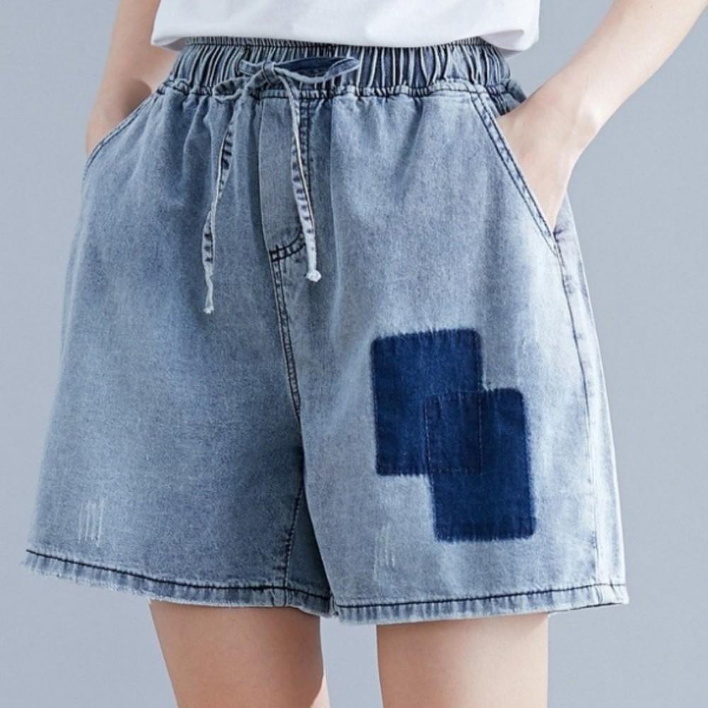 韓系牛仔短褲 【P0013】 原創 文藝 大碼 寬鬆 休閒 短褲 褲裙 闊腿褲 褲裙