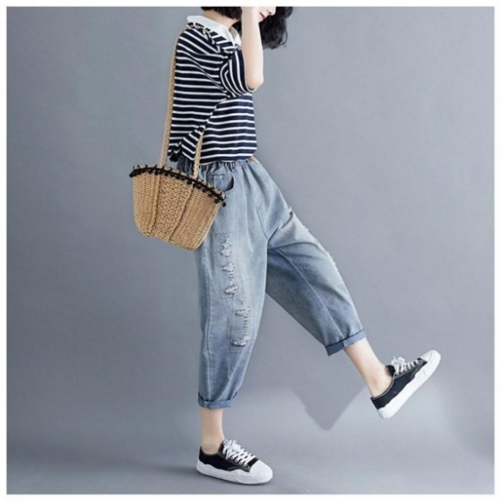 原創 寬鬆夏季薄款破洞牛仔褲 【P0016】 口袋 文藝 原創設計 九分褲 哈倫褲 鬆緊腰帶