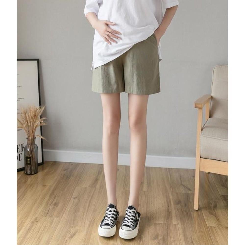 韓國熱銷托腹短褲 【P0236】 棉麻 孕婦 短褲 低腰 孕婦褲 運動風 孕婦短褲
