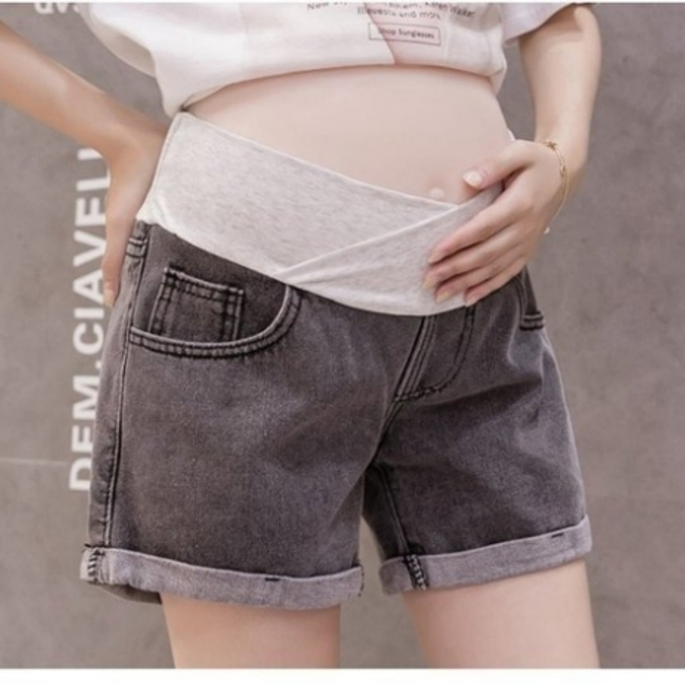 韓系 托腹短褲 【P0288】牛仔 低腰 托腹 孕婦短褲 孕婦 牛仔短褲
