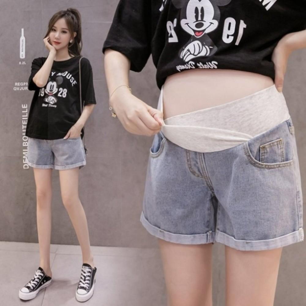 P0288 - 韓系 托腹短褲 【P0288】牛仔 低腰 托腹 孕婦短褲 孕婦 牛仔短褲