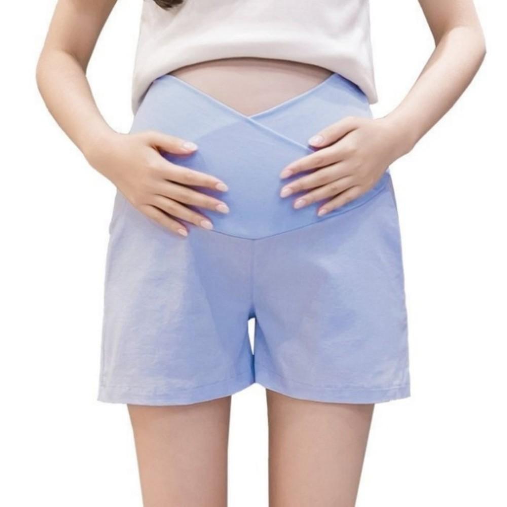 韓系 托腹短褲 【P0421】 棉麻 孕婦 短褲 低腰 孕婦褲 純色 運動風 孕婦短褲