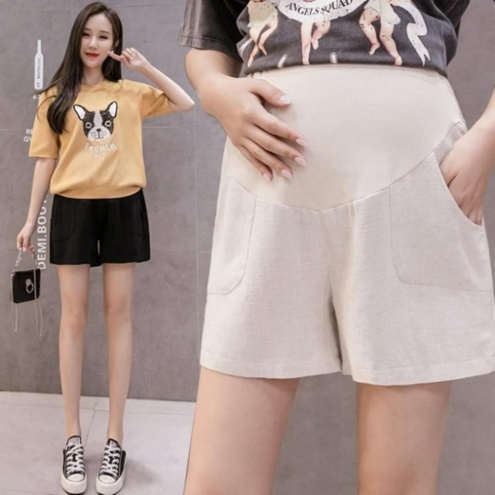 P1008-韓系 托腹短褲 【P1008】亞麻 高腰 低腰 托腹 棉麻 孕婦短褲 運動風 短褲