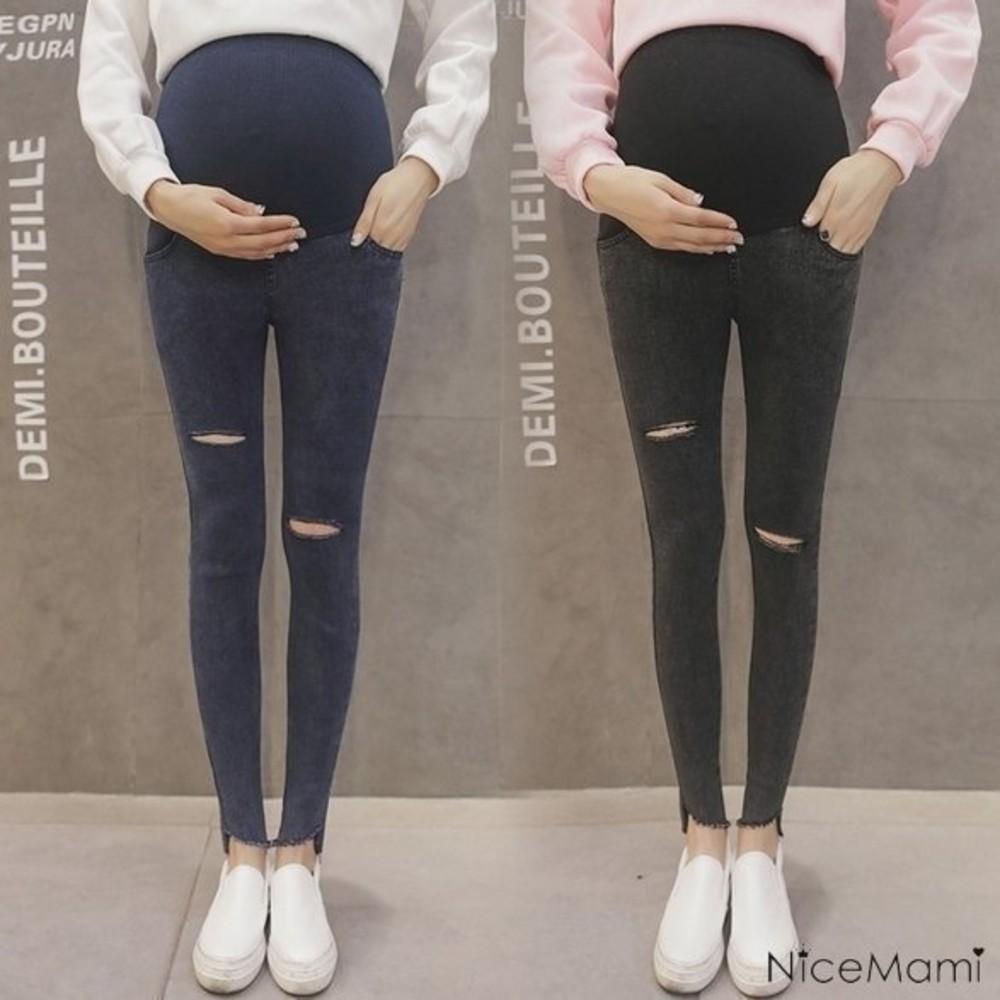 特彈托腹褲 【P1031】 視覺增加5cm 前短後長 斜腳口 毛邊 孕婦高腰托腹褲 破洞 牛仔褲 封面照片