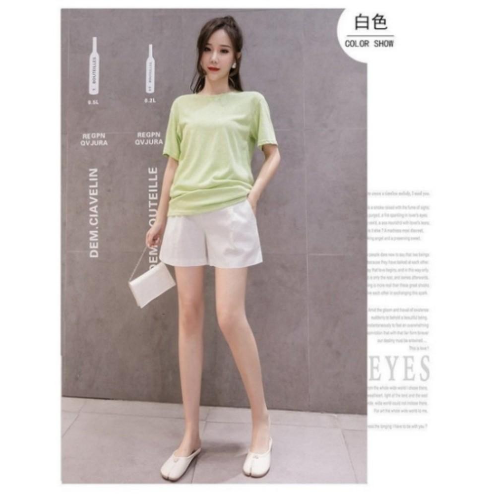 孕婦短褲 【P1076】棉麻 高腰 托腹短褲 孕婦裝 孕婦 休閒 短褲