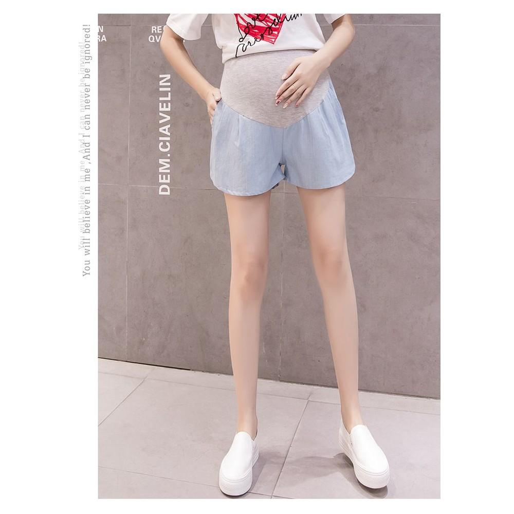 仿牛仔 短褲【P1077EB】 托腹 短褲 綁帶 口袋 薄棉 孕婦 托腹褲 孕婦短褲