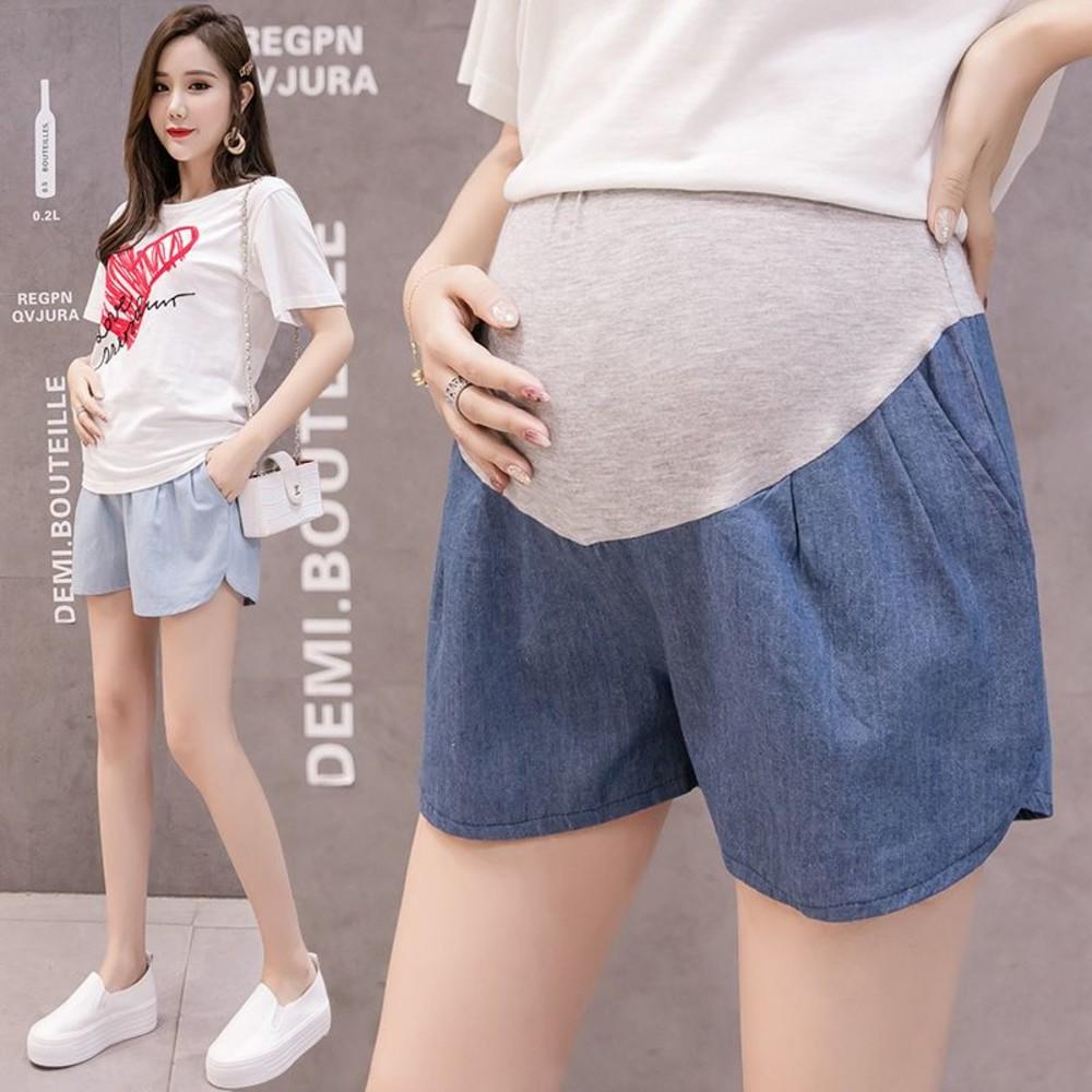 P1077EB-仿牛仔 短褲【P1077EB】 托腹 短褲 綁帶 口袋 薄棉 孕婦 托腹褲 孕婦短褲