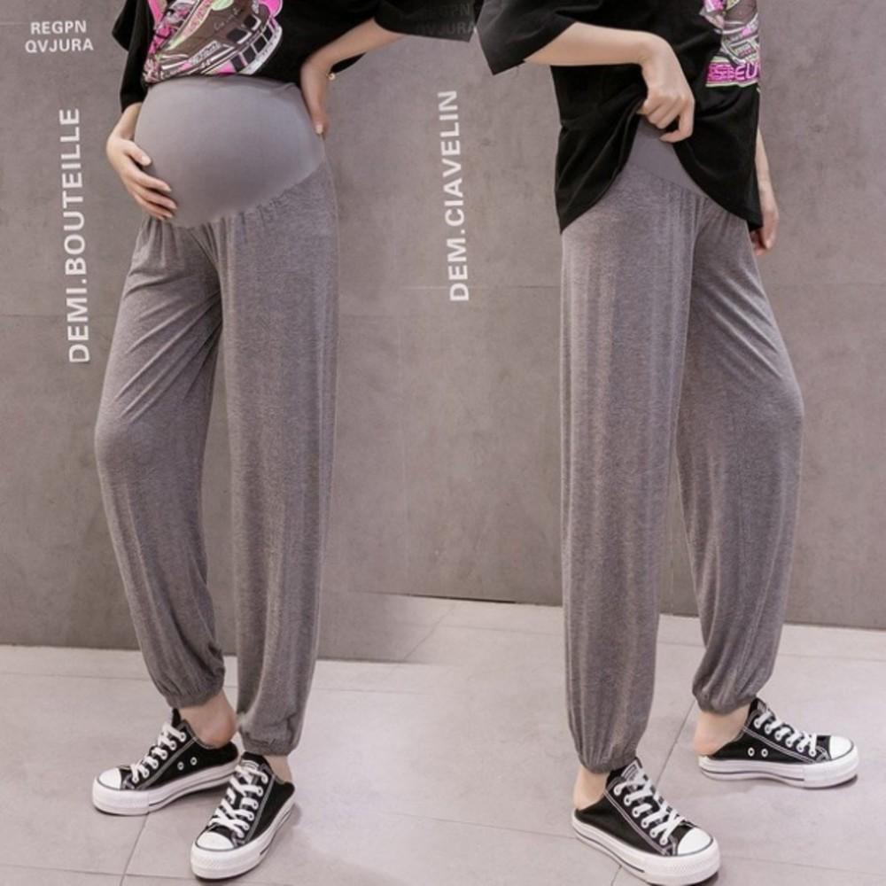 莫代爾 親膚 孕婦褲 【P1329】 薄款 無縫 九分褲 瑜伽褲 束腳 孕婦 長褲