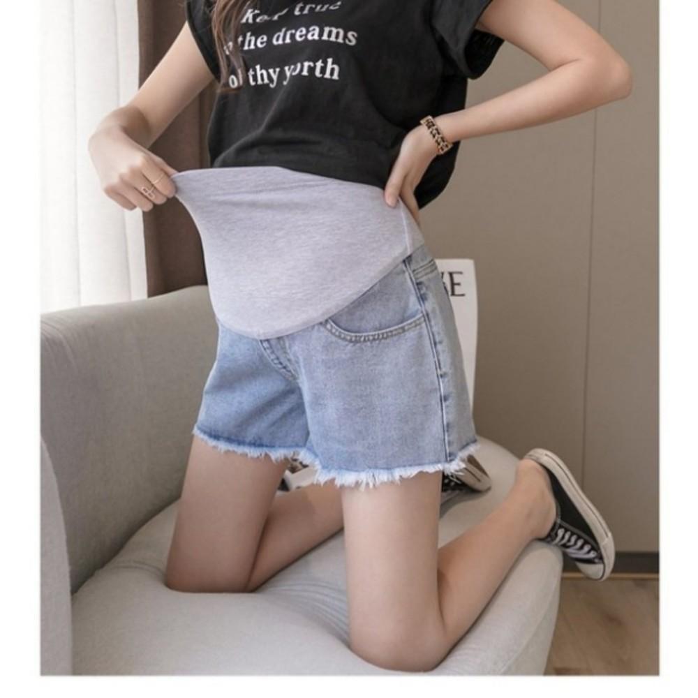 毛鬚托腹褲 【P1821】 毛邊 孕婦 牛仔短褲 牛仔褲 孕婦褲 抓鬚 孕婦短褲