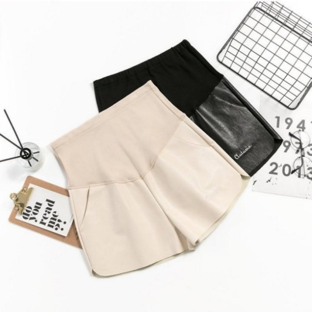 韓系 托腹 短皮褲 【P1874】 托腹 皮褲 孕婦 短褲 高腰托腹褲 皮短褲 孕婦裝