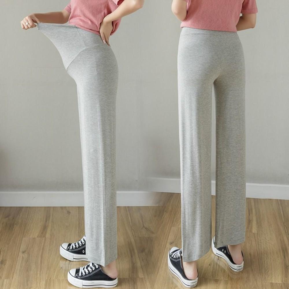 實拍 莫代爾 親膚 寬褲 【P2210】高腰 托腹 顯瘦 顯腿長 孕婦寬褲 孕婦長褲