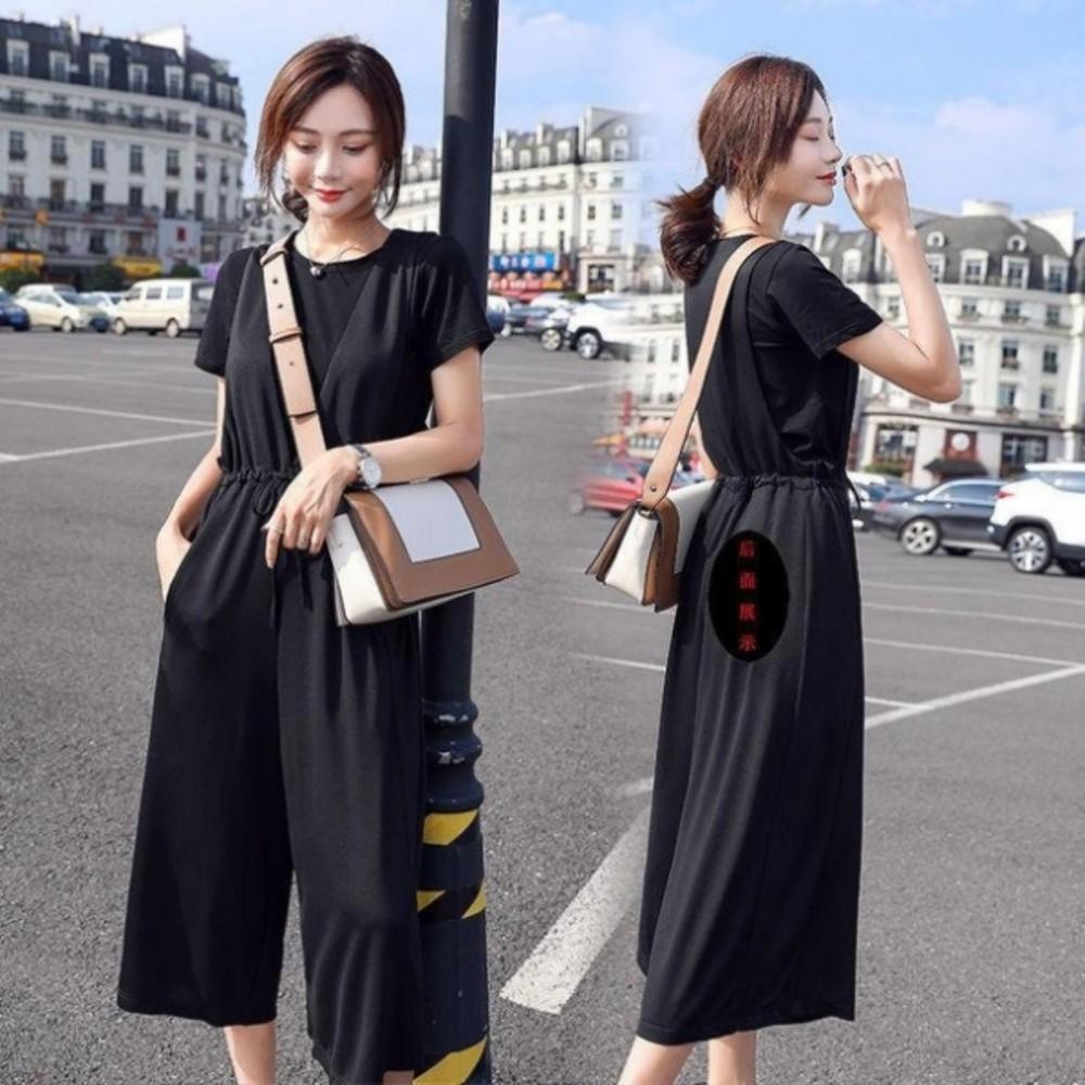 韓系二件式吊帶寬褲 【P2306】套裝兩件套洋氣女夏薄韓版時尚收腰寬鬆背帶褲