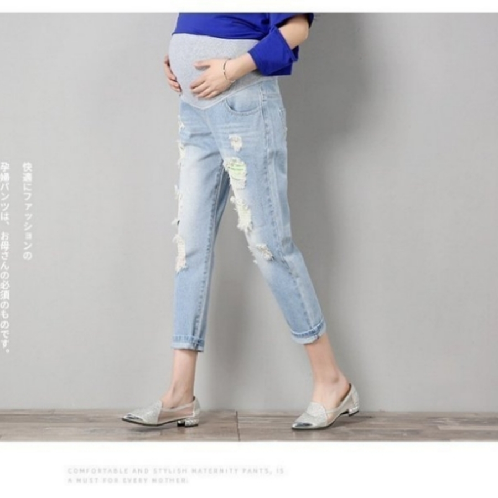 破洞托腹褲 【P2668】 孕婦托腹褲 彈力 孕婦牛仔褲 抓破 孕婦褲 抓鬚 九分褲 孕婦裝