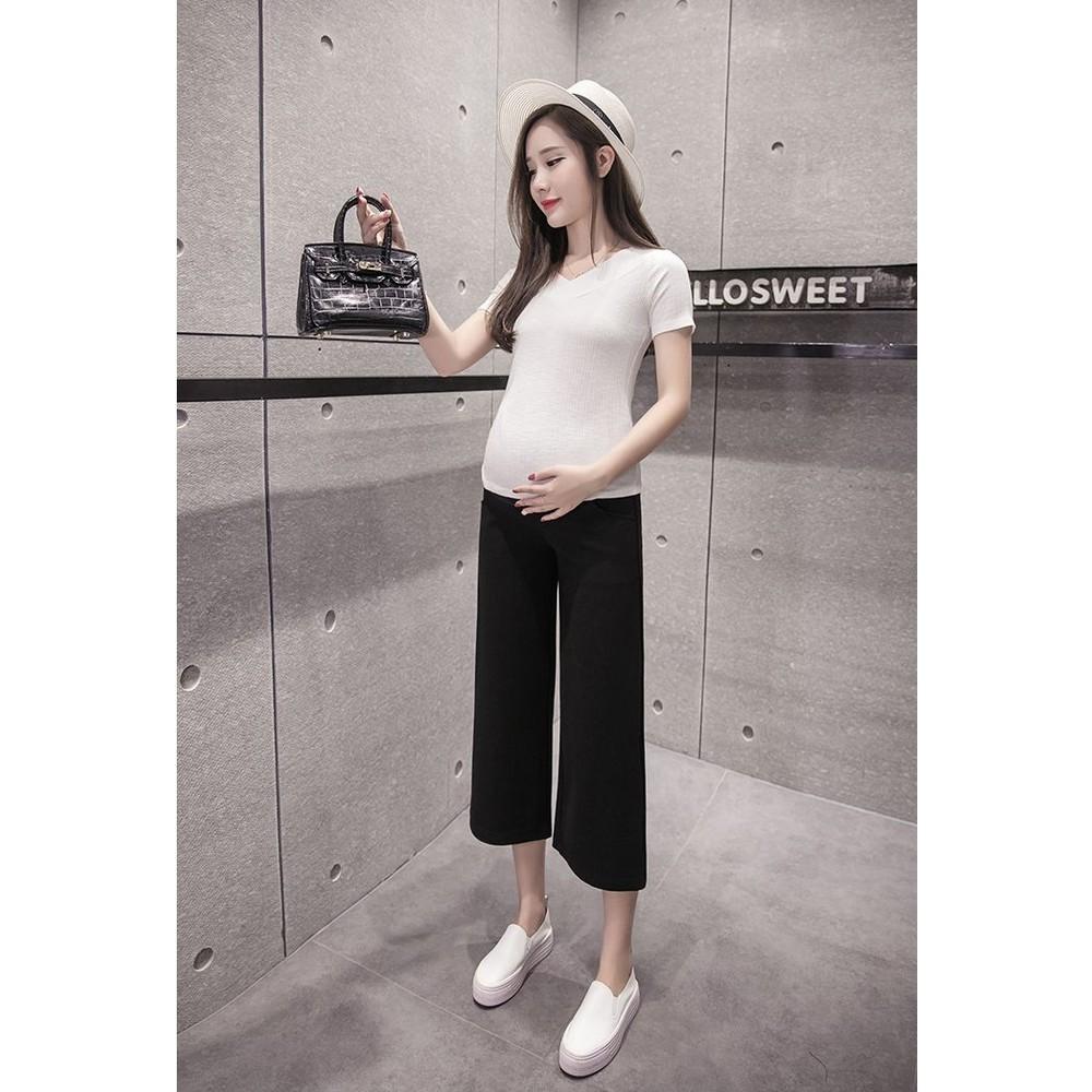 韓系 實拍 孕婦 寬褲 【P2721】七分 寬鬆 高腰 托腹 孕婦褲