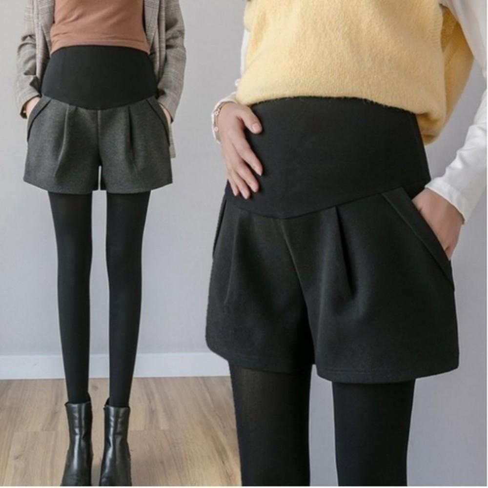 孕婦短褲 【P2910】 毛呢 保暖 高腰 托腹短褲 顯瘦 孕婦裝 托腹褲