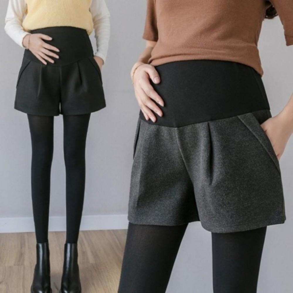 孕婦短褲 【P2910】 毛呢 保暖 高腰 托腹短褲 顯瘦 孕婦裝 托腹褲 封面照片