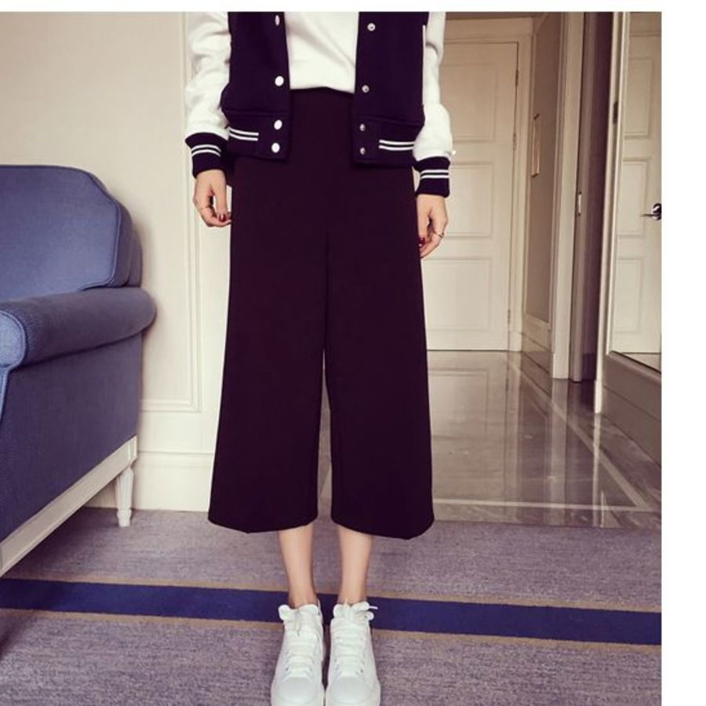 純色 寬褲 【P3045】 舒適 寬褲 七分褲 高腰 孕婦 托腹褲 可調節
